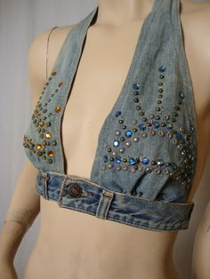 Sexy Authentic Jean and Rhinestone Halter Top Upcycled in 1970 Levi Strauss  Hippie Halter Top Woodstock
