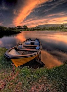 row boat at sunset