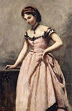 Camille Corot, jeune femme en robe rose  Art Experience NYC: www.artexperiencenyc.com