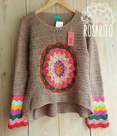 Fabulous Crochet a Little Black Crochet Dress Ideas. Georgeous Crochet a Little Black Crochet Dress Ideas. Gilet Crochet, Crochet Shirt, Crochet Jacket, Crochet Cardigan, Crochet Bikini, Crochet Mandala, Crochet Granny, Crochet Stitches, Knit Crochet