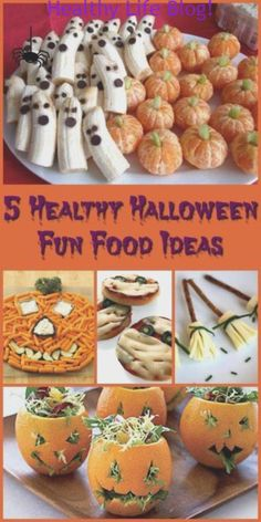 5 Healthy Halloween Fun Food Ideas Halloween doesn't have to be only about eating candy. Create delicious and healthy treats everyone will love with these 5 Healthy Halloween Fun Food Ideas. Plat Halloween, Halloween Party Snacks, Halloween Appetizers, Toddler Halloween, Halloween Humor, Halloween Finger Foods, Easy Halloween Treats, Halloween Potluck Ideas, Halloween Birthday