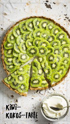 Kiwi-Coconut-Tarte Kiwi, Dessert, Avocado Toast, Vegetable Pizza, Good Food, Coconut, Vegetables, Breakfast, Healthy