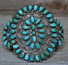 Magnificent Old Zuni Sterling Silver Petit Point Turquoise Cluster Bracelet | Jewelry & Watches, Ethnic, Regional & Tribal, Native American | eBay!