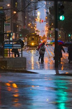 Unique photo of a rain in San Francisco. Is this look romantic to you?
