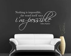 Nothing Is Impossible Wall Sticker Vinyl Wall Decal by Wallboss, £14.99