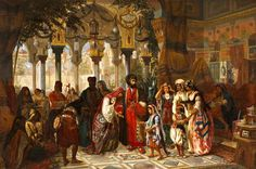 The presentation of the bride to the Court of Syria i    Jan Baptiste Huysmans (1826-1906
