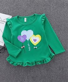 Pre Order Awabox Full Sleeves Ruffle Detailing Heart Patch Work Top Green Kids Outfits Kids Fashion India Clothes