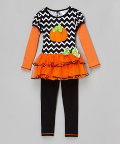This Youngland Orange Pumpkin Layered Top & Leggings - Infant, Toddler & Girls by Youngland is perfect! #zulilyfinds