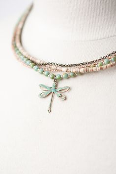 RC0019N Unique handcrafted designer artisan patina dragonfly pendant multistrand necklace for women