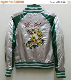 mega sale 20 off sukajan jacket satin vintage rare embroidered tigers roaring japan yokosuka varsity