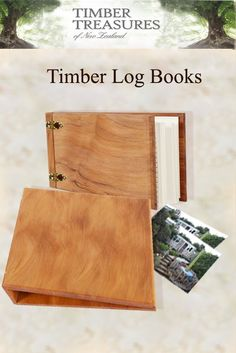 Wooden log books. Use to plan and log the landscaping of a new garden or refurbishing an existing garden