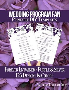 DIY Printable Wedding Program Fan template shown here in the Forever Entwined design series in purple eggplant and silver. All wording is 100% editable by you within Word. Easy to edit & print.