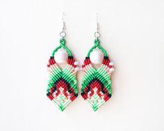 Boho tribal micro macrame knotted earrings  Red by MartaJewelry