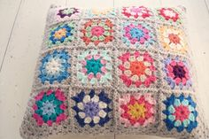 crochet cushion cover pillow decorative modern retro by MYLITTLEREDSUITCASE, bright colourful wool granny flower beige border home decor via Etsy