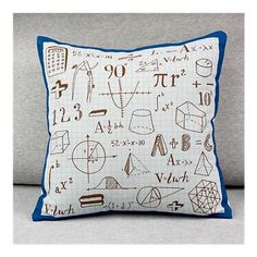 The idea for this throw pillow came about when we solved a very complicated equation: assuming a = fun, printed science or math illustrations, and b = a pillow, what do you get when you divide it by c, assuming c is your kid?
