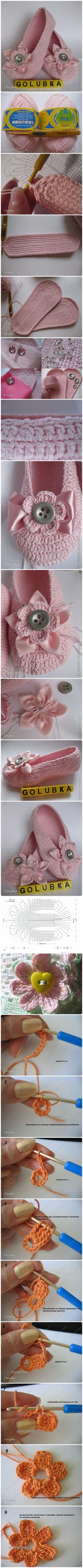 DIY Stylish Crochet Ballet Slippers tutorial
