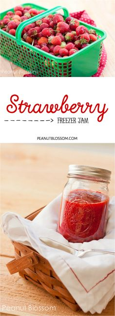How to make Strawberry Freezer Jam: The perfect recipe to use your fresh berries from the farmer's market. So much easier than traditional canning methods, this easy to make method is stored in your freezer so you can enjoy fresh tasting berry jam all winter long! Huge hit with the kids and can even be used as a substitute for syrup on pancakes! YUM.