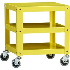 go-cart yellow rolling table in bedroom furniture | CB2 $99