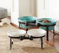 Cambria Raised Pet Bowl & Stand -- good for dogs with neck issues #potterybarn