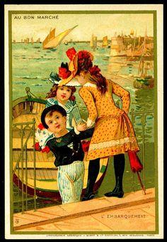 "French Tradecard. Embarking a Boat. Au Bon Marche (Paris) ""Seaside Days"" c1889."