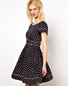 Enlarge Orla Kiely Cut Out Back Dress in Little Galleon Print Cotton