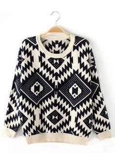 ++ blue geometric round neck cotton sweater