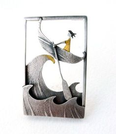 Crest of a wave brooch by Becky Crow