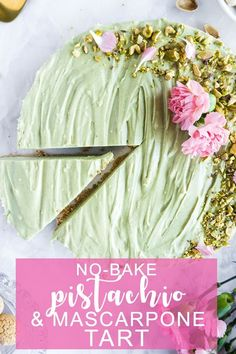 This no-bake pistachio mascarpone tart is the perfect dessert to make if you're in a hurry! The amaretti cookie crust takes no time to make, and the blend of pistachio cream and mascarpone work beautifully together. Just put it in the fridge to firm up and you have a dessert that everyone will love! #tart #pistachiotart #pinacooks #italianrecipes | pinabresciani.com @pinabresciani Desserts To Make, No Bake Desserts, Dessert Recipes, Pistachio Cream, Amaretti Cookies, Cookie Crust, Pie Cake, Cake Cookies, Italian Recipes