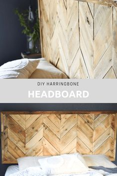Herringbone Pallet Headboard - My Happy Simple Living - - Diy herringbone pallet headboard tutorial. A budget frinedly project, this herringbone pallet headboard has a beautiful rustic look and is easy to build. 1001 Pallets, Wood Pallets, Pallet Benches, Pallet Tables, Pallet Bar, Outdoor Pallet, Pallet Sofa, Recycled Pallets, Diy Pallet Furniture