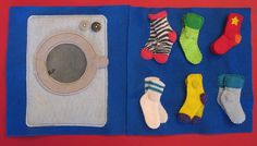 Sock Matching Quiet Book Page Quiet Book Templates, Quiet Book Patterns, Sewing For Kids, Diy For Kids, Book Socks, Baby Quiet Book, Felt Quiet Books, Busy Book, Infant Activities