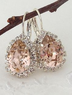 Blush Pink crystal teardrop earring Drop by EldorTinaJewelry | blush wedding |crystal earrings | blush crystal and silver | bridal earring | bridesmids gift || www.etsy.com/...