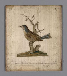 Silk, satin weave; silk embroidered bird, France, 18th c.