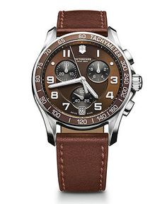 Victorinox Swiss Army Watch, Men's Chronograph Brown Leather Strap 241498 - Victorinox Swiss Army - Jewelry & Watches - Macy's