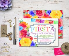 Colorful Watercolor Papel Picado and Floral Fiesta Bridal Shower, Baby Shower, Birthday Party Invitation (Bright Colors) DIGITAL FILE by JupiterAndMarsPrints on Etsy https://www.etsy.com/listing/239287427/colorful-watercolor-papel-picado-and