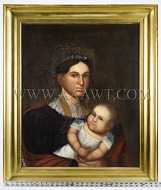 Portrait Of Mother And Infant Attributed to Zedekiah Belknap (1781-1858) Oil on Canvas    Portrait of a mother holding her child who is wear...