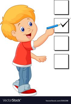 Cartoon boy with checklist vector image on VectorStock