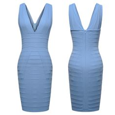 Deep V-neck Mini Bandage Dress Sexy Bodycon Evening Party Dress Blue Pink  Features: Intro: Sleeveless,Wrap,Mini,Naked back Color: Pink    Blue Material:  Polyester   Package:1 x Dress (other accessories on pictures are NOTincluded.)