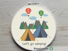 cross stitch pattern Let's go camping, travel, tent, outdoor, holiday, camping, PDF, ** instant download**