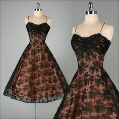 Vintage 1950s Dress  Black Lace  Iridescent - I was born in the wrong decade...