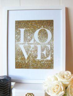 Glitter Love Print #goldglitter #love #prettychicsf