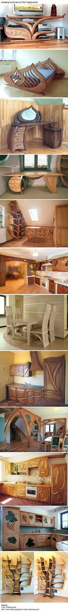 Amazing furnitures by Piotr Wojtanowski. That desk with the round barrel and the…