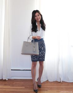 Prada Saffiano Cuir bag review & work outfit idea // lace pencil skirt, white blouse, navy pumps.