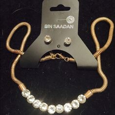 BEAUTIFUL DESIGNER BEN SAADAN JEWELRY SET This is a beautiful BEN SAADAN so 10mm snake chain Crystal statement necklace and  earrings set. Can be worn as a choker or a necklace that had a 3 inch extender. Ben Saadan Jewelry
