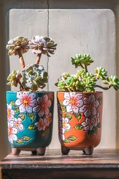 Set of 2 - beautiful flower style ceramic planter, succulent planter, ceramic pl. - Set of 2 – beautiful flower style ceramic planter, succulent planter, ceramic planter … – Se - Succulent Planter Diy, Diy Planters, Ceramic Planters, Succulents Garden, Planter Pots, Succulent Display, Ceramic Decor, Ceramic Pottery, Colorful Succulents