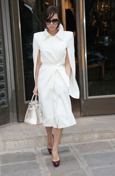 Victoria Beckham in Maison Martin Margiela coat, the infamous Birkin Himalayan bag!!! C. Loub pumps