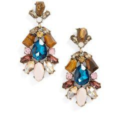Women's Sole Society Nightlight Statement Earrings ($37) ❤ liked on Polyvore featuring jewelry, earrings, multi, drop earrings, vintage style earrings, stone drop earrings, stone jewelry and cluster drop earrings