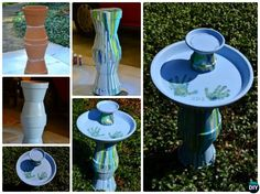 DIY Marble Paint Clay Pot Bird Feeder Instructions