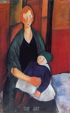 Seated Woman with Child - Amedeo Clemente Modigliani - Painting Reproduction