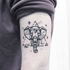 Geometric Elephant Tattoo and Space Elements by Greemtattoo