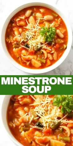 When soup season comes around you can't go past a classic Italian Minestrone Soup. A rich tomato broth filled with vegetables, beans and pasta. Best Soup Recipes, Chili Recipes, Healthy Recipes, Bean Recipes, Party Recipes, Favorite Recipes, Italian Minestrone Soup Recipe, Easy Minestrone Soup, Roast Pumpkin Soup